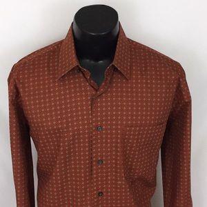 Alan Flusser mens button up shirt rust orange L